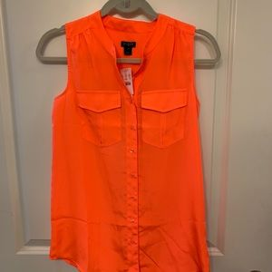 J Crew button down sleeveless blouse